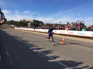 Male winner of the Twin Cities Marathon, Dominic Ondoro