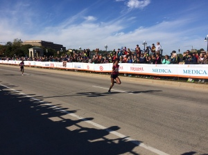 Female winner of the Twin Cities Marathon, Abraha Serkelam Biset